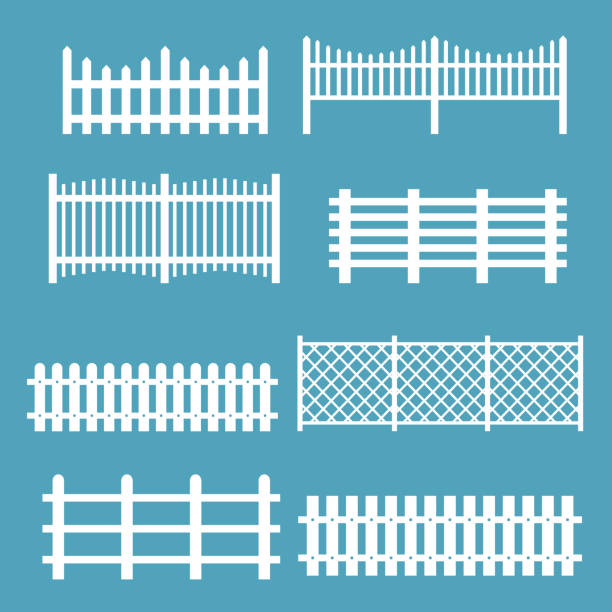 stockillustraties, clipart, cartoons en iconen met vector illustratie set verschillende hekken witte kleur. rural silhouettes houten hekken, piketten vector voor tuin in vlakke stijl. - hek