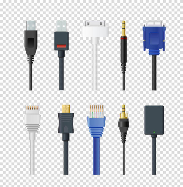 Vector illustration set of different plugs and wires, color various audio connectors and inputs collection on transparent background. vector art illustration