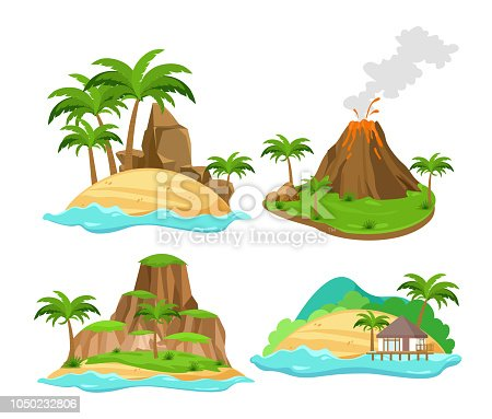 Vector illustration set of different scenes of tropical islands with palm trees and mountains, volcano isolated on white background in flat cartoon style