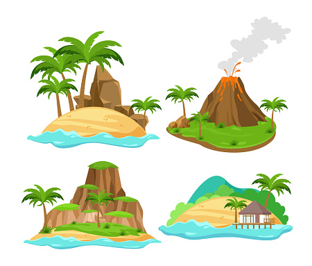 Vector illustration set of different scenes of tropical islands with palm trees and mountains, volcano isolated on white background in flat cartoon style.