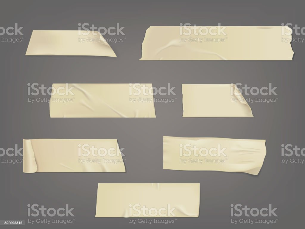 Vector illustration set of different slices of a adhesive tape with shadow and wrinkles - Royalty-free Antigo arte vetorial