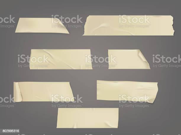 Vector Illustration Set Of Different Slices Of A Adhesive Tape With Shadow And Wrinkles - Arte vetorial de stock e mais imagens de Antigo