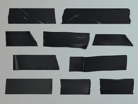 Vector illustration set of different slices of a adhesive tape with shadow and wrinkles