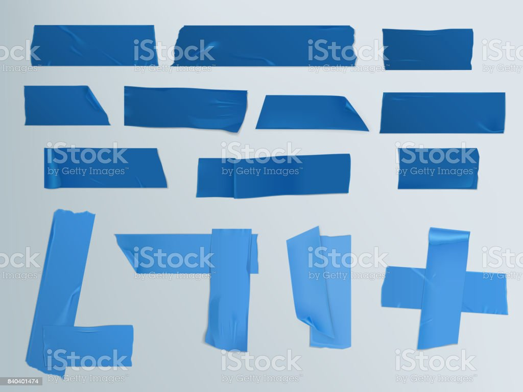 Vector illustration set of different slices of a adhesive tape with shadow and wrinkles vector art illustration