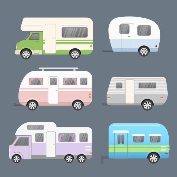 stockillustraties, clipart, cartoons en iconen met vector illustratie set van verschillende soorten camping aanhangwagens, reizen stacaravan. aanhangwagens en opleggers voor reizen collectie geïsoleerd op grijze kleur achtergrond in een platte cartoon stijl. - caravan
