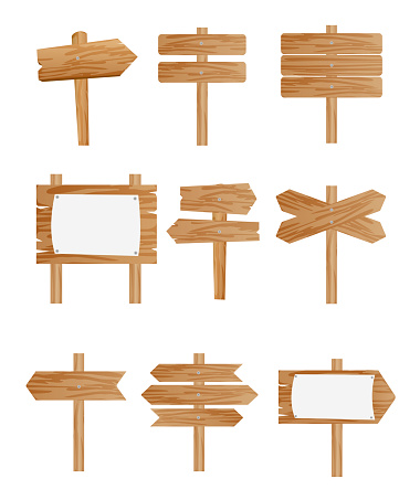 Vector illustration set of different wooden street signs, pointers collection on white background in flat style. clipart