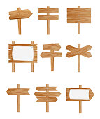 Vector illustration set of different wooden street signs, pointers collection on white background in flat style
