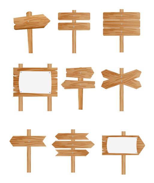 ベクトル図は異なる木造道路標識、フラット スタイルの白い背景の上のポインターのコレクションのセット。 - 看板点のイラスト素材/クリップアート素材/マンガ素材/アイコン素材