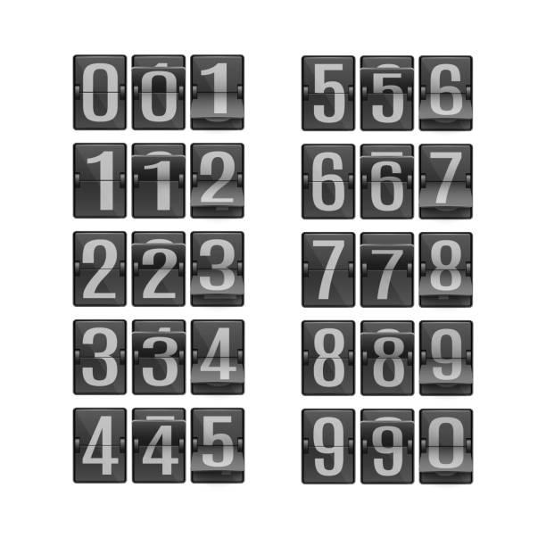 Vector illustration set of digits on black flip mechanical timetable in different positions. vector art illustration