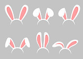 Vector illustration set of Easter bunny cartoon ears. Animal bunny, rabbit mask ears collection in flat cartoon style