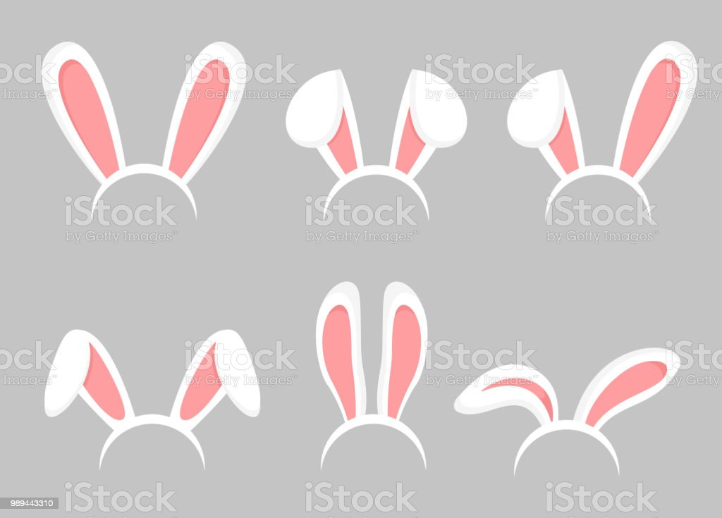 Vector illustration set of Easter bunny cartoon ears. Animal bunny, rabbit mask ears collection in flat cartoon style. vector art illustration