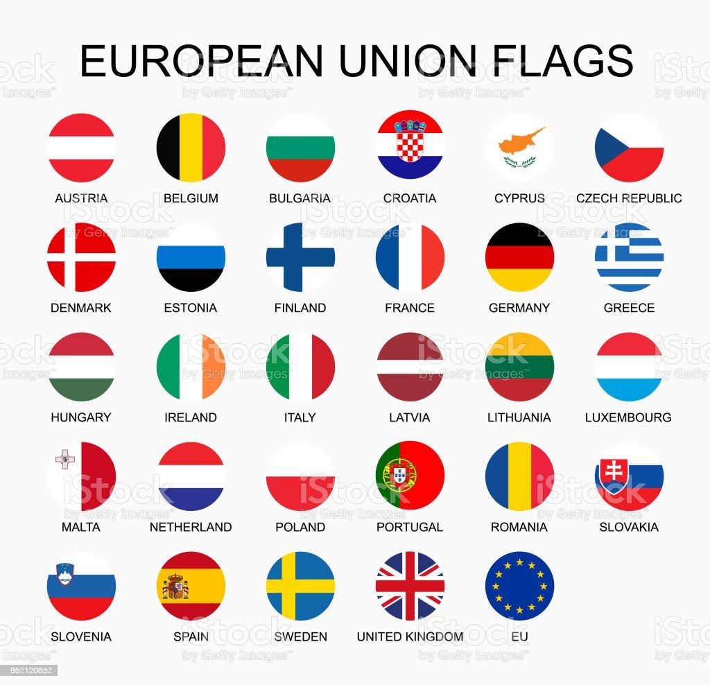 Vector Illustration Set Of European Union Countries Flags On White