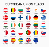 Vector illustration set of European Union countries flags on white background.