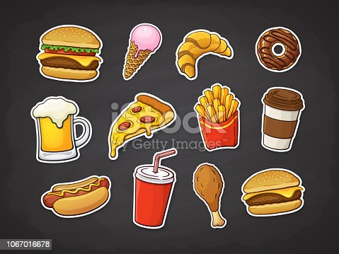 Vector illustration. Set of fast food. Pizza slice, burger, hot dog, cheeseburger, French fries, donut, Fried chicken leg, beer, ice cream, croissant, paper cup of soda, coffee. Stickers with contour