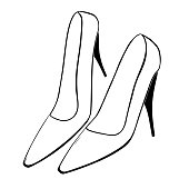 Vector illustration set of female high-heeled shoes on a white background