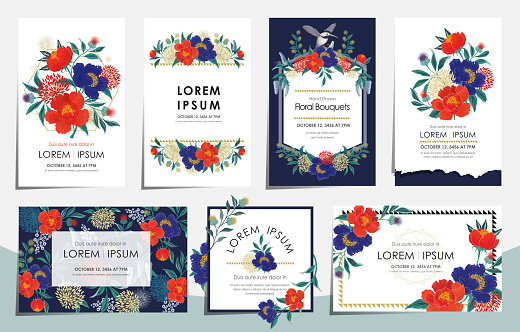 Vector illustration set of floral card set for wedding, anniversary, birthday parties.
