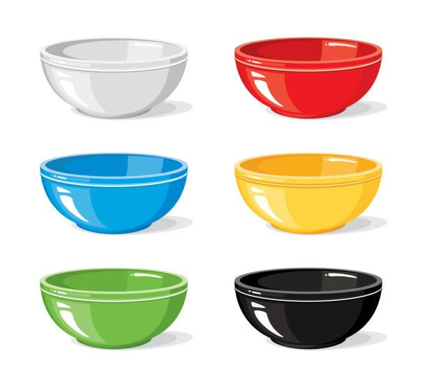 vektor-illustration von essen icons einstellen verschiedene bunte leeren schalen für frühstück oder abendessen isoliert auf weißem hintergrund. kochen die sammlung. küche-objekte für ihr design - schüssel stock-grafiken, -clipart, -cartoons und -symbole