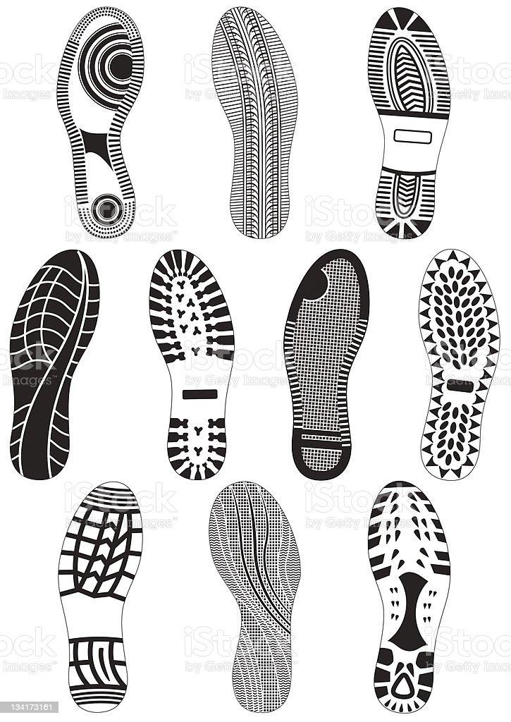 Vector illustration set of footprints. vector art illustration