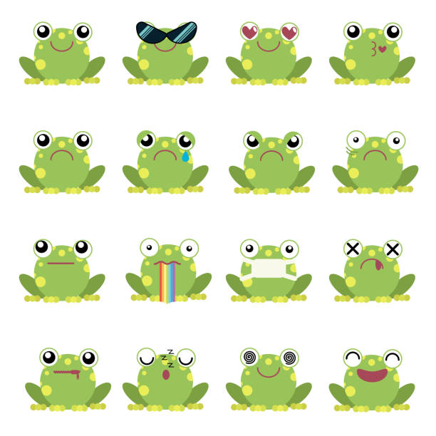 ilustraciones, imágenes clip art, dibujos animados e iconos de stock de conjunto de ilustración vectorial de emoticonos de rana - emoji confundido