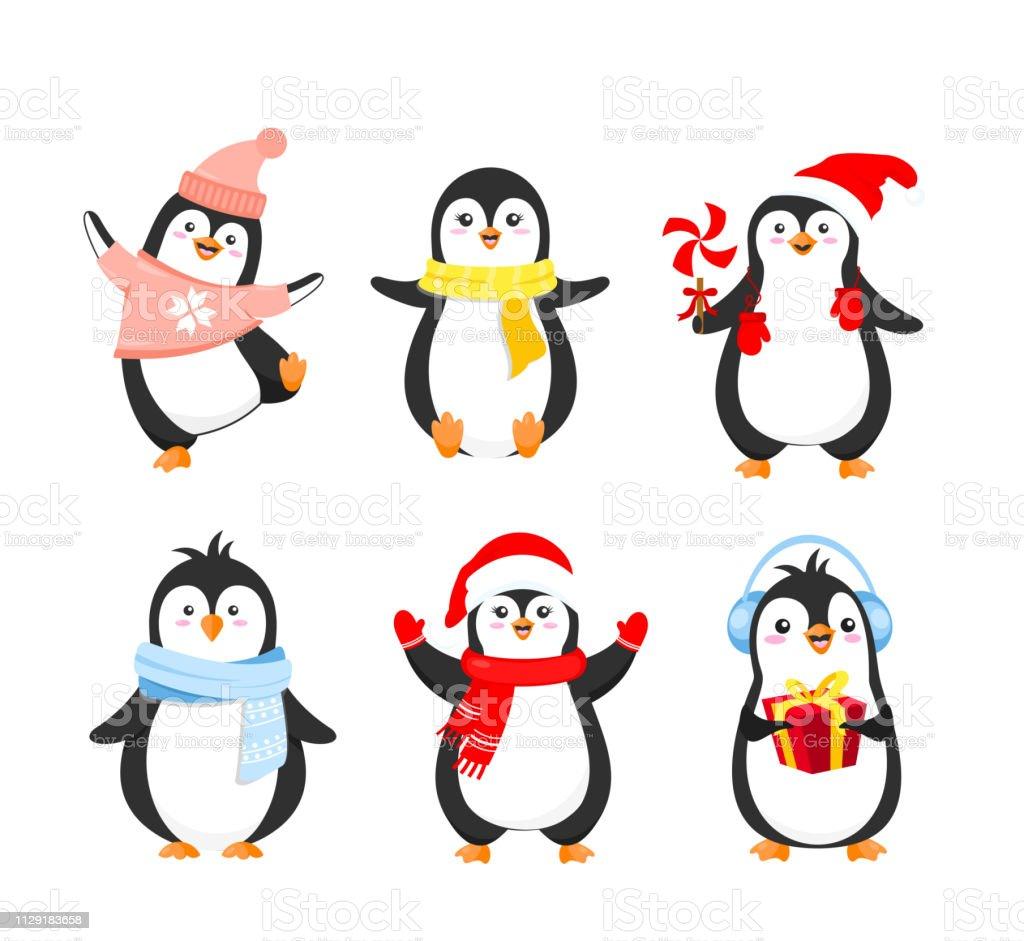 Ilustração em vetor definido de pinguins de Natal engraçados em roupas quentes. Coleção de pinguins fofos para cartões de férias inverno design em desenho animado estilo plano isolado no fundo branco. - ilustração de arte em vetor