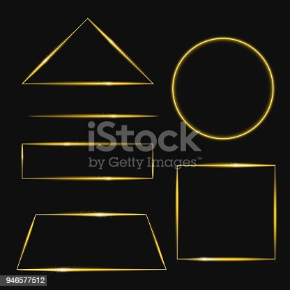 Vector illustration set of golden frame with lights effects in different shapes. Shining rectangle banner. Isolated on black background