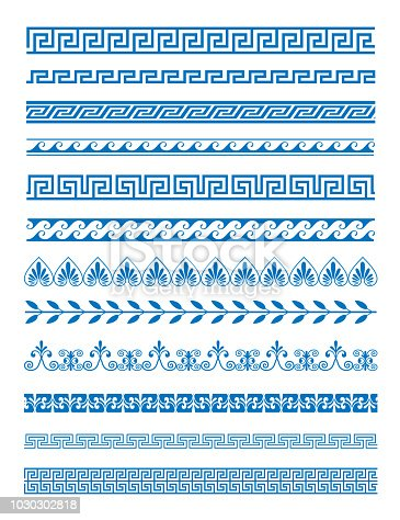 Vector illustration set of Greek patterns and ornaments on white background. Wave and meander decorative elements set blue color