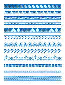 Vector illustration set of Greek patterns and ornaments on white background. Wave and meander decorative elements set blue color