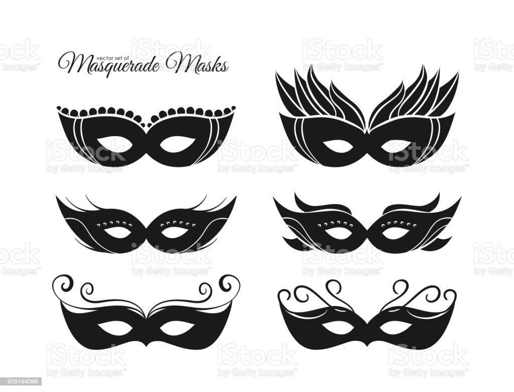 ベクトル イラスト 手描き仮面舞踏会マスクのシルエットのセット