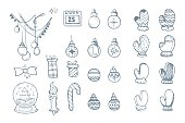 Vector illustration set of hand drown ellements for Christmas and New Year winter Holidays. Icon doodles set isolate on white background