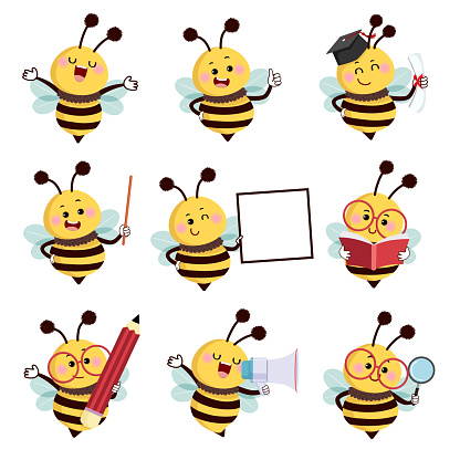 Vector illustration set of happy cartoon bee mascot characters in different poses in education concept.