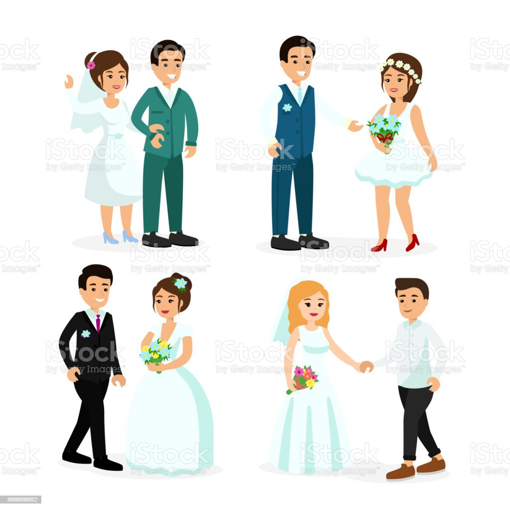 Vector Illustration Set Of Happy Characters Bride And Groom Isolated ...