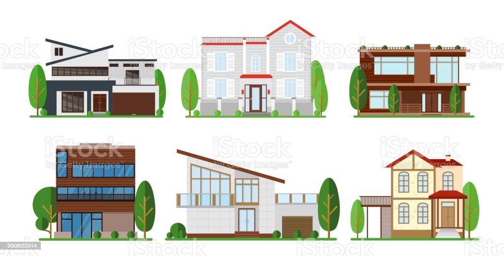 Vektor Illustration Set Home Exterieur Design. Modernes Apartment, Haus,  Gebäude Konzept
