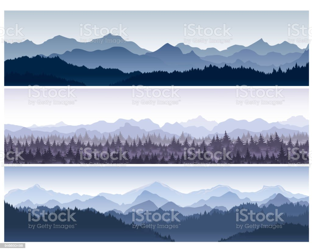 Vector illustration set of horizontal backgrounds with wild nature mountains with forest in morning fog. royalty-free vector illustration set of horizontal backgrounds with wild nature mountains with forest in morning fog stock illustration - download image now