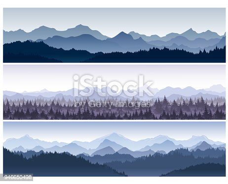 Vector illustration set of horizontal backgrounds with wild nature mountains with forest in morning fog