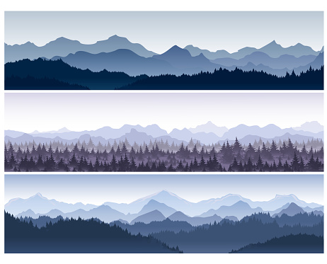 Vector illustration set of horizontal backgrounds with wild nature mountains with forest in morning fog. clipart