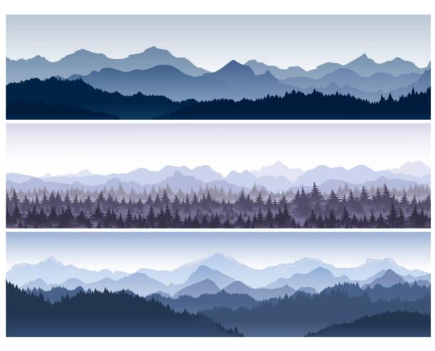 bildbanksillustrationer, clip art samt tecknat material och ikoner med vektorillustration uppsättning horisontella bakgrunder med vild natur berg med skog i morgondimma. - forest