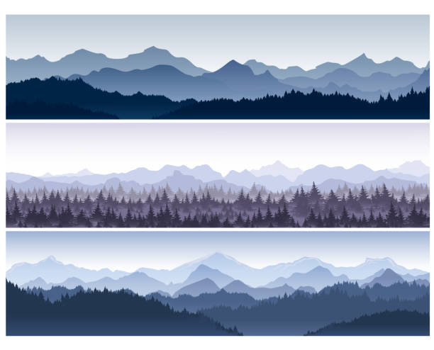 vector illustration set of horizontal backgrounds with wild nature mountains with forest in morning fog. - панорамный stock illustrations