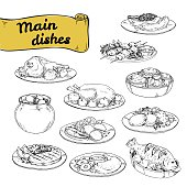 vector illustration set of main courses for design of restaurants and cafes. set hand-painted sektchey meat and fish dishes with side dishes of European cuisine.vector illustration set of main courses for design of restaurants and cafes. set hand-painted sektchey meat and fish dishes with side dishes of European cuisine.