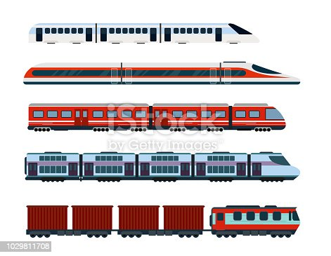 Vector illustration set of modern passenger trains. Subway transport, high speed trains and underground train. Metro train in flat style