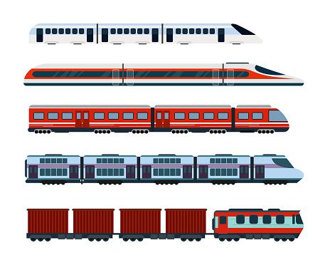 Vector illustration set of modern passenger trains. Subway transport, high speed trains and underground train. Metro train in flat style.