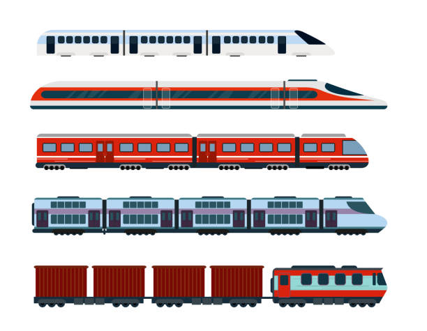 vector illustration set of modern passenger trains. subway transport, high speed trains and underground train. metro train in flat style. - train stock illustrations, clip art, cartoons, & icons