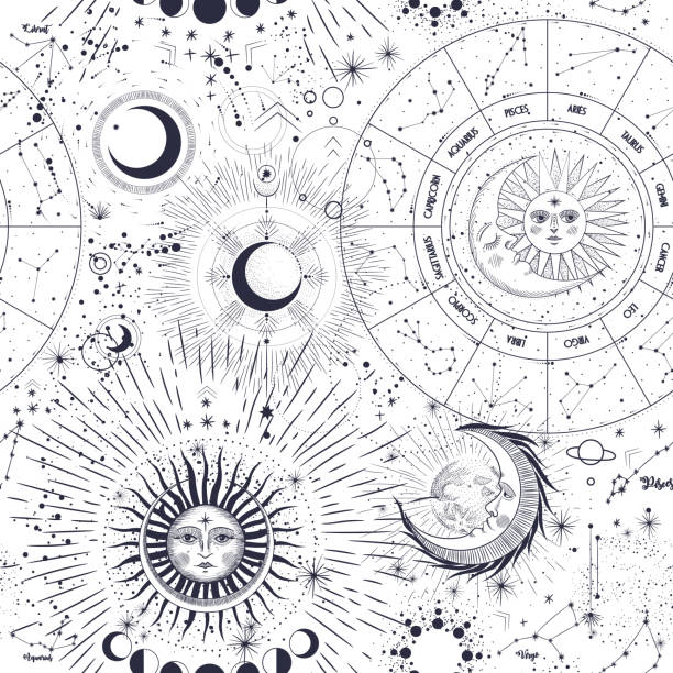 Vector illustration set of moon phases. Different stages of moonlight activity in vintage engraving style. Zodiac Signs Vector illustration set of moon phases. Different stages of moonlight activity in vintage engraving style. Zodiac Signs alchemy stock illustrations