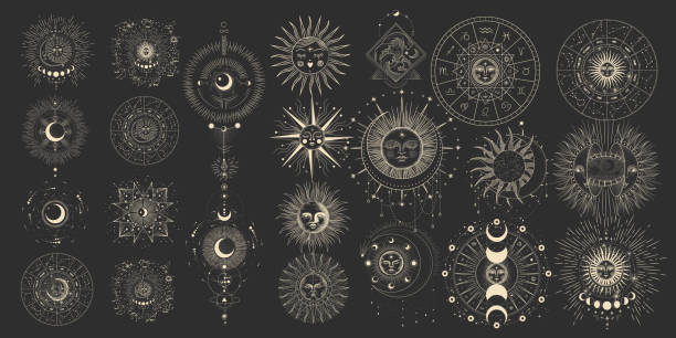 vector illustration set of moon phases. different stages of moonlight activity in vintage engraving style. zodiac signs - духовность stock illustrations