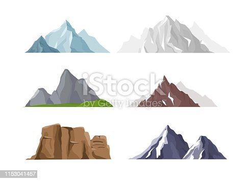 Vector illustration set of mountain icons in flat cartoon style. Different mountains and hills collection isolated on white background