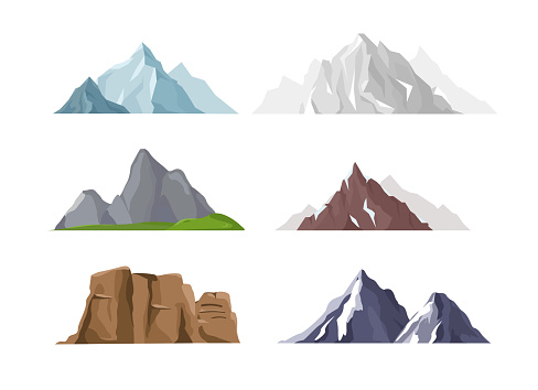 Vector illustration set of mountain icons in flat cartoon style. Different mountains and hills collection isolated on white background. clipart