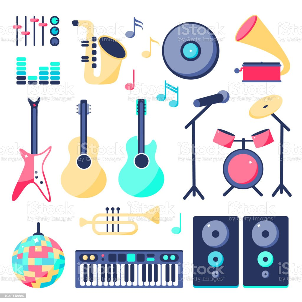 Vector Illustration Set Of Music Instruments In Flat Style