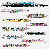 Vector illustration set of noise effect, decay signal glitch elements isolated on white background. Grunge monitor and Tv screen problems set