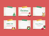 Vector illustration set of  note papers with christmas objects affixed with masking tape for doodle, scribble, note, memo. Design for  print project for banner, icons,  web design, poster, and scrapbook.