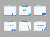Vector illustration set of  note papers with winter objects affixed with masking tape for doodle, scribble, note, memo. Design for  print project for banner, icons,  web design, poster, and scrapbook.