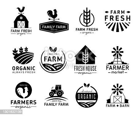 istock Vector illustration set of organic products logos and labels. Farm logos, fresh and healthy food logotypes collection isolated on white background. 1301832139